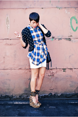 Jeffrey Campbell wedges - Silence & Noise skirt - asos top - vintage cardigan