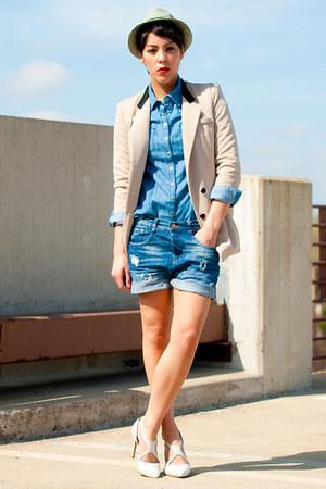 Romwecom blazer - Forever 21 hat - Forever 21 shirt - Zara shorts - asos heels
