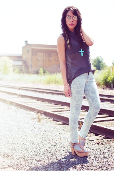 Blowfish shoes - Forever 21 jeans - Lush blouse - SunglassesShopcom glasses