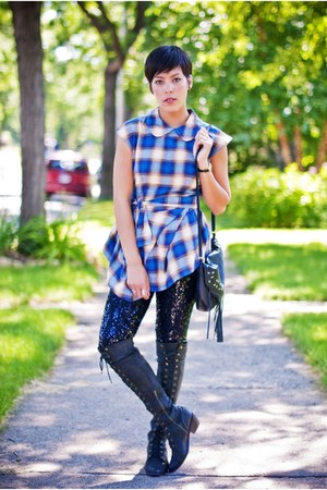 Jeffrey Campbell boots - sequined HUE leggings - Asos check tunic blouse