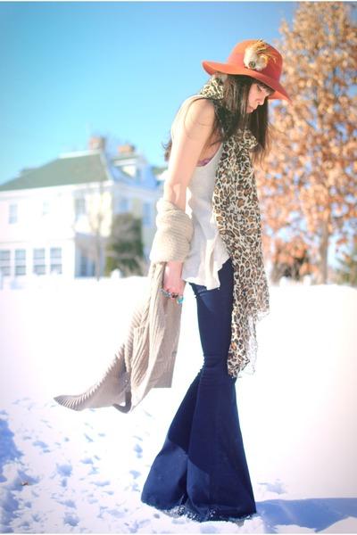 Blank Denim jeans - vintage hat - H&M scarf - thrifted cardigan