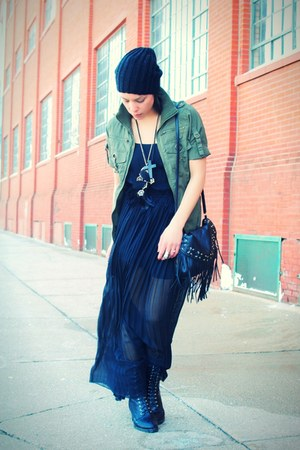 Forever 21 boots - lulus dress - H&M hat - MoussyShop jacket