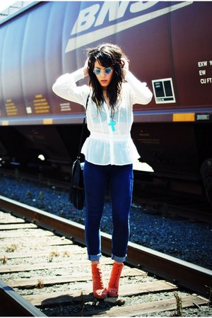 Jeffrey Campbell shoes - BDG jeans - Forever 21 shirt - SunglassesShopcom glasse