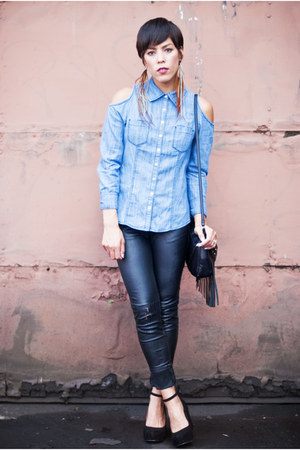 Forever 21 blouse - Forever 21 pants - ankle strap Jeffrey Campbell wedges