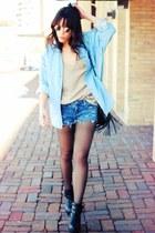 Steve  Madden boots - Ebay Seller Rock Paper Vintage shirt - DIY cutoff shorts -
