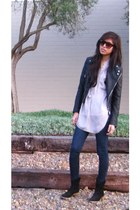 boots - jacket - shirt - sunglasses