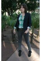 vintage shirt - vintage blazer - Cheap Monday jeans - go jane boots