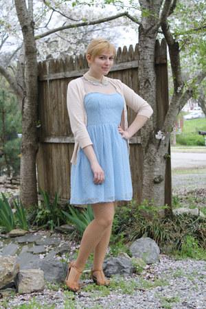 light blue Rodarte for Target dress - off white Vintage Beaded Collar necklace -