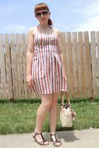 red Forever 21 dress - gold vintage necklace - black Rocketdog shoes - beige vin