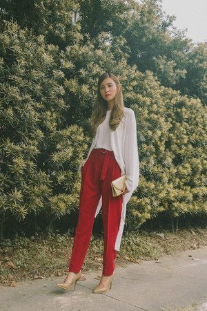 red Mango pants - gold SM bag - tan SM heels - white Mango top