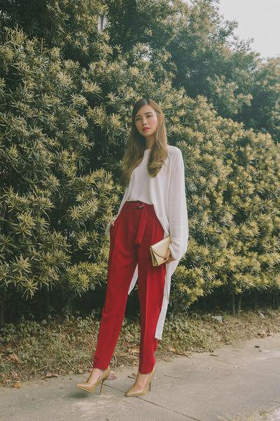 red Mango pants - gold SM bag - tan SM heels - white Mango top