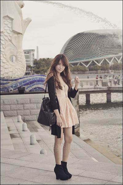 black Topshop cardigan - orange Topshop dress - black Forever 21 bag - black For