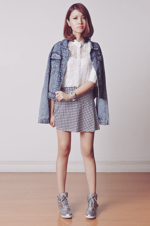 silver baby-G watch - black houndstooth ellysage skirt