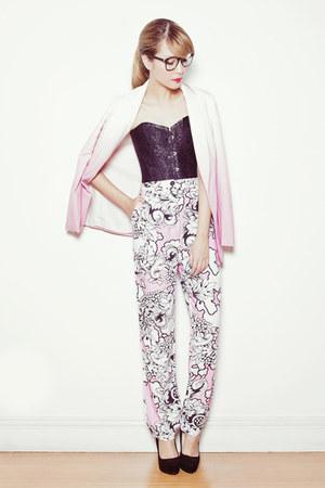 pink romwe blazer - pink Fairground pants - black Zara heels