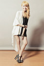White-romwe-shorts-black-five-by-five-heels-black-romwe-top