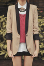 Maroon-crop-topshop-top-white-polo-uniqlo-top-tan-two-tone-zara-blazer