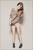 tan Forever 21 sweater - light orange Forever 21 shorts - dark brown Forever 21