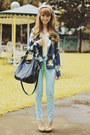 Blue-floral-print-terranova-jacket-navy-oversized-fino-bag