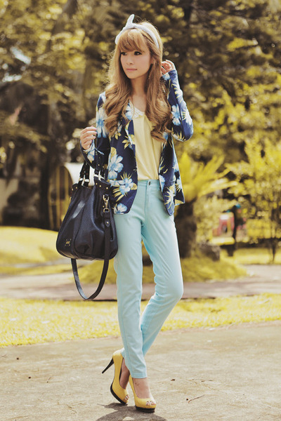 blue floral print Terranova jacket - navy oversized Fino bag