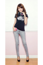 Black-cute-plush-t-shirt-gray-topshop-petite-pants-black-aldo-shoes-black-
