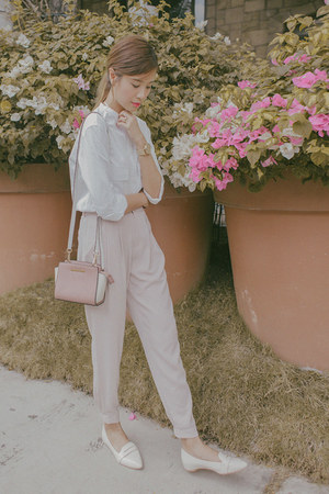 pink Michael Kors bag - light pink Uniqlo pants - white Uniqlo and Lemaire top