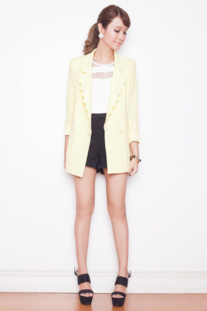 light yellow scalloped Tricia for Romwe blazer - white Zara top