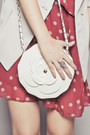 Maroon-dress-ivory-bag-silver-ring-off-white-wedges