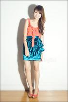 blue ruffled Poisonberry skirt - orange peeptoe People are People shoes