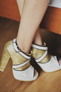 Gold-capital-vice-heels-ivory-paint-splatter-zara-dress