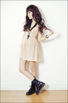 black By Margaret bracelet - black doc martens boots - beige Topshop dress