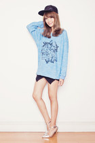 light blue The orphans arms jumper - black WOAKAO shorts - silver Choies heels