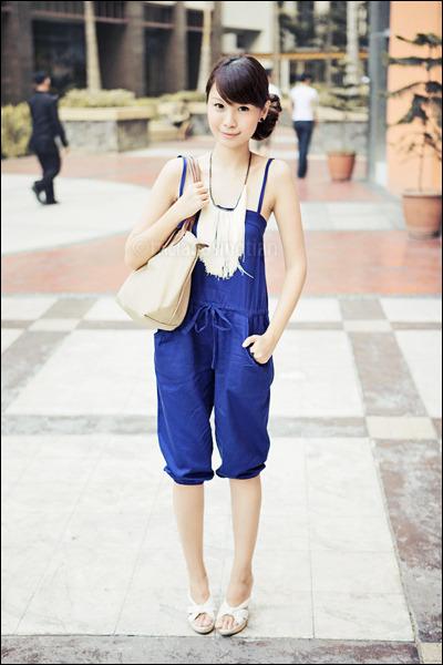 white Celine shoes - blue jumpsuit What A Girl Wants