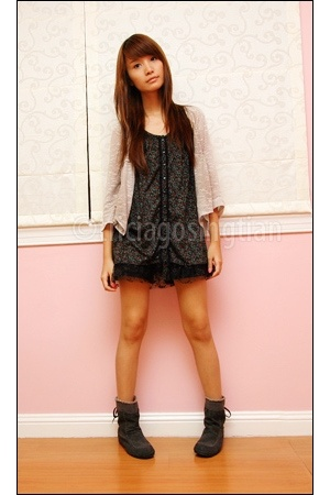 gray D&amp;C boots - beige Cinema Club jacket - black mimi shorts