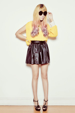 black Yesstyle skirt - mustard MGP dress - Gurly Glam Shoppe sunglasses
