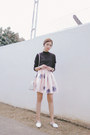 Black-happymallow-sweater-white-michael-kors-bag-peach-romwe-skirt