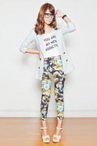 light blue from Korea blazer - white EMODA top - green romwe pants