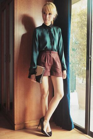 teal Zara top - maroon Topshop shorts - black Guess heels