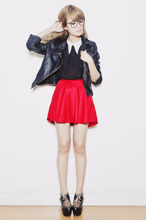 red ellysage skirt - black leopard Romwecom shoes - black leather OASAP jacket