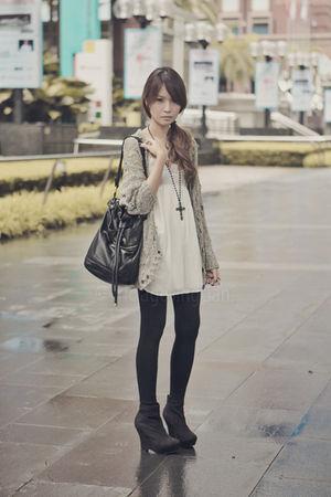 white Topshop dress - green Topshop cardigan - black Topshop leggings - black Fo