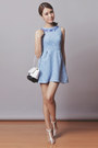 light blue Just G dress - white Choies heels