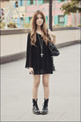 Black-topshop-dress-black-doc-martens-boots-silver-forever-21-necklace-bla
