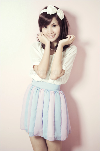 white from korea top - purple stripey Poisonberry skirt