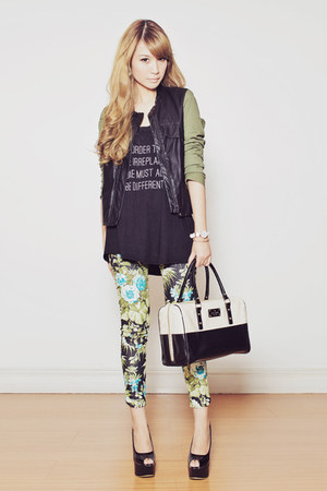 Choies jacket - printed EMODA top - floral print romwe pants - Charriol watch