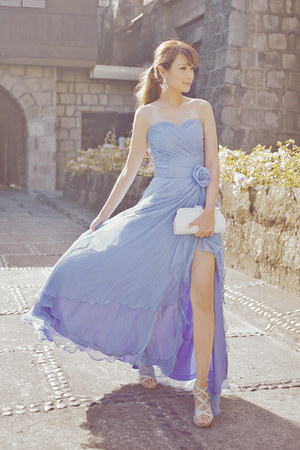 periwinkle custom-made Haute Lifestyle dress - silver sm accessories bag