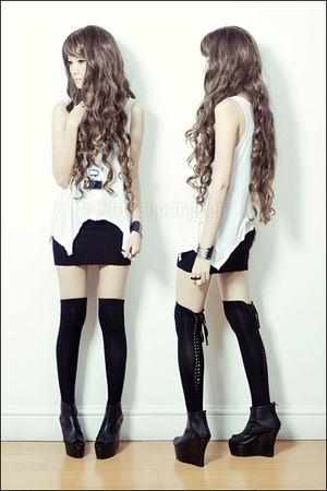 black thigh-high from a friend socks - black chunky wedges Custom-made shoes