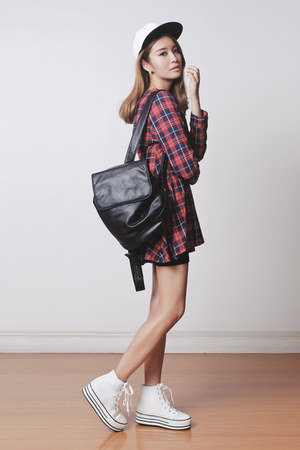 brick red plaid PERSUNMALL dress - black backpack EMODA bag