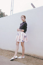 black Happymallow sweater - white Michael Kors bag - peach romwe skirt