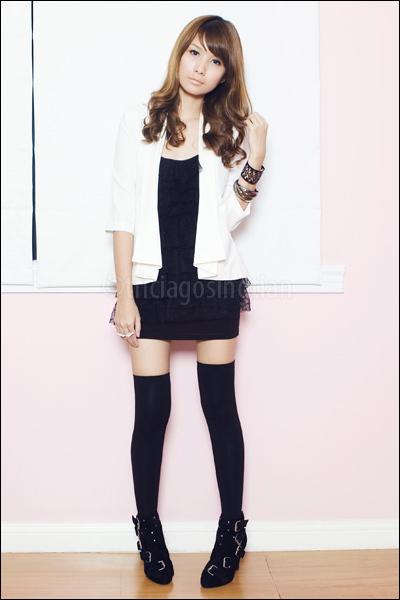 black ruffle Zara top - black multiple buckle Summersault boots