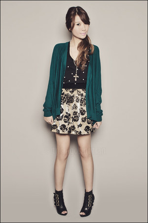 black Forever 21 top - teal Forever 21 cardigan - gold Forever 21 skirt - black