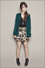 Black-forever-21-top-teal-forever-21-cardigan-gold-forever-21-skirt-black-